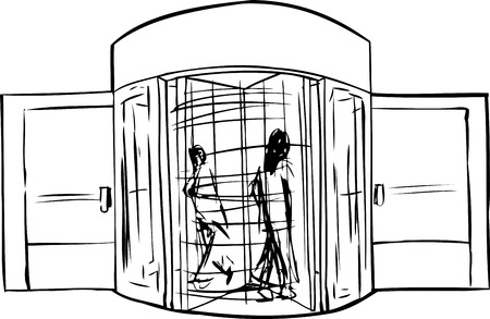 revolving: Outline of two people moving through revolving doorway