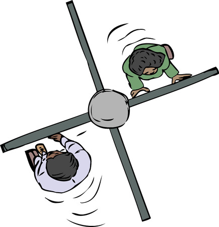 Cartoon of two people pushing through a turnstile Ilustracja