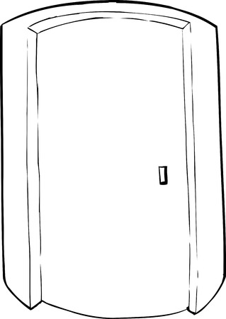 cylindrical: Outlined closed cylindrical doorway cartoon over white