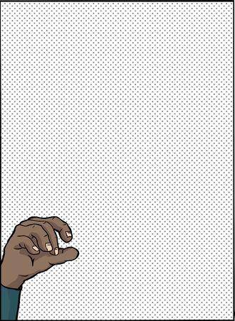 hispanics: Single hand holding something over blue background