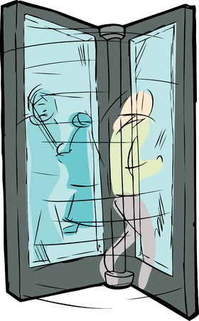 Illustration of blurry people moving through revolving door