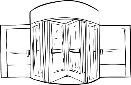 revolving: Background outline of revolving door over white background Illustration