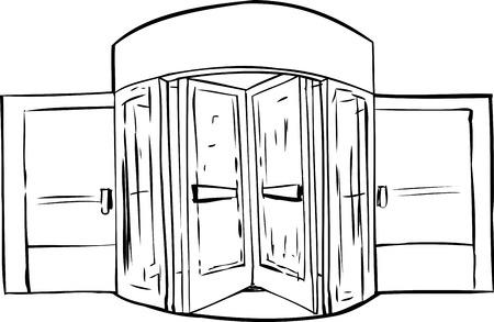 Background outline of revolving door over white background Illustration