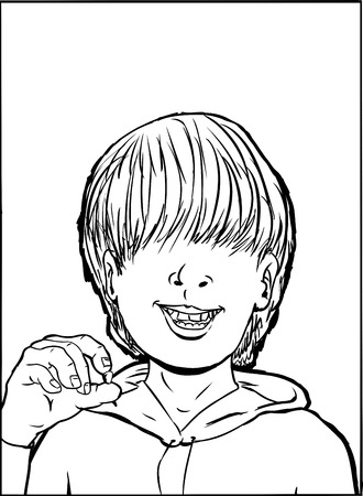 long hair boy: Outline of single boy holding a missing tooth