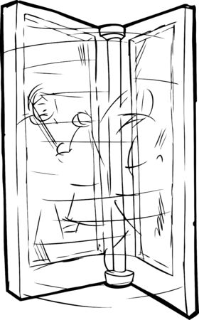 Outline sketch of blurry people moving through revolving door Illustration