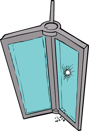 revolving: Hand drawn illustration of revolving door with broken glass Illustration