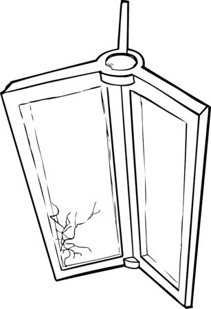 shattered glass: Outlined sketch of revolving door with shattered glass Illustration