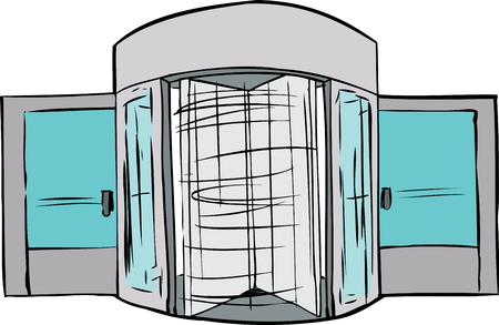 Hand drawn illustration of spinning revolving door Stock Illustratie