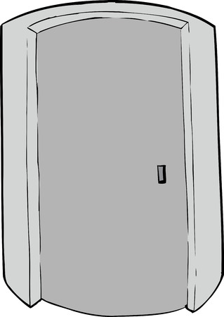 cylindrical: Closed cylindrical doorway cartoon over white background Illustration