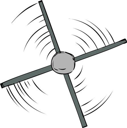 Top down view of spinning propeller cartoon Illustration