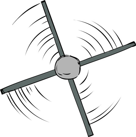 Top down view of spinning propeller cartoon Stock Illustratie
