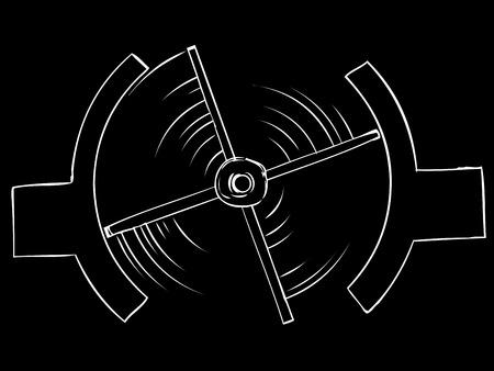 revolving: Top view of spinning turnstile over isolated black background Illustration
