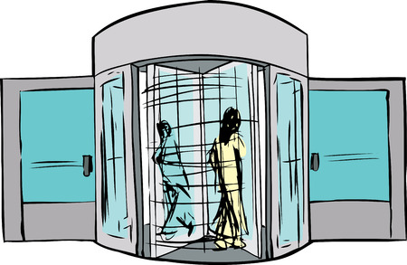 Sketch of two people moving through revolving doorway