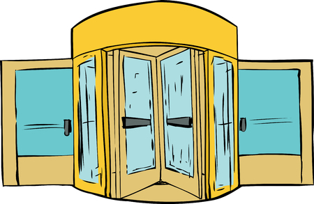 revolving: Background sketch of revolving door over white background