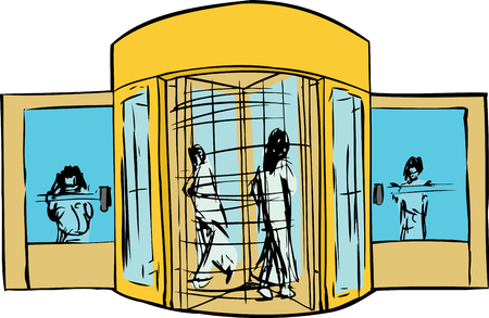 Isolated revolving door entrance with group of people Ilustrace