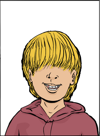 long hair boy: Cartoon yearbook photo of smiling boy with long hair