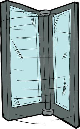 Isolated spinning revolving door over white background Иллюстрация
