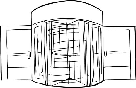 revolving: Hand drawn illustration of spinning revolving door outline