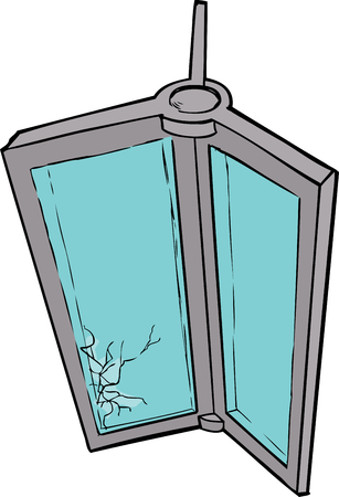 revolving: Hand drawn illustration of revolving door with shattered glass