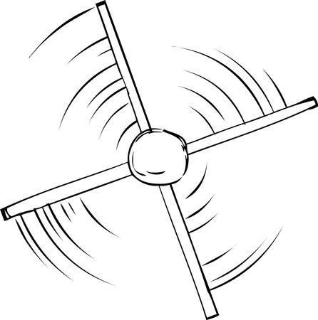 revolving: Top down outline view of spinning propeller cartoon Illustration