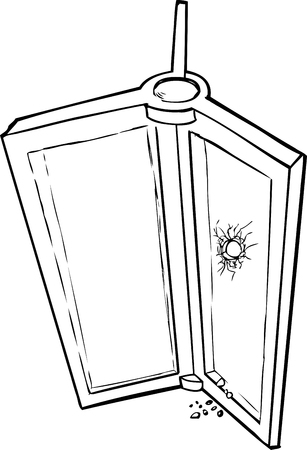 Outlined sketch of revolving door with broken glass