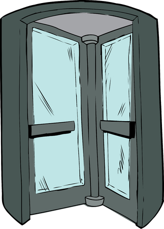 revolving: Cartoon revolving door in doorway on isolated background Illustration