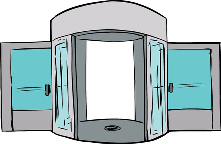 revolving: Cartoon of entrance with missing revolving door