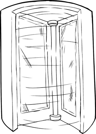 revolving: Outlined cartoon doorway with spinning revolving door Illustration