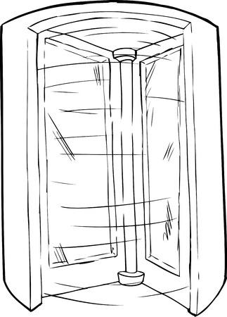 Outlined cartoon doorway with spinning revolving door Illustration