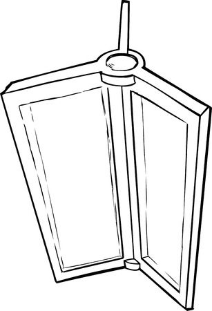 revolving: Outlined illustration of revolving door parts on white Illustration