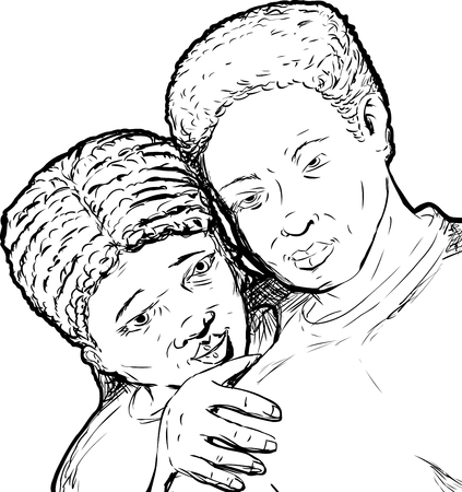 Outline of loving young African couple over white background