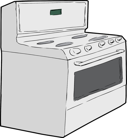 cooktop: Hand drawn sketch of generic isolated white induction stove