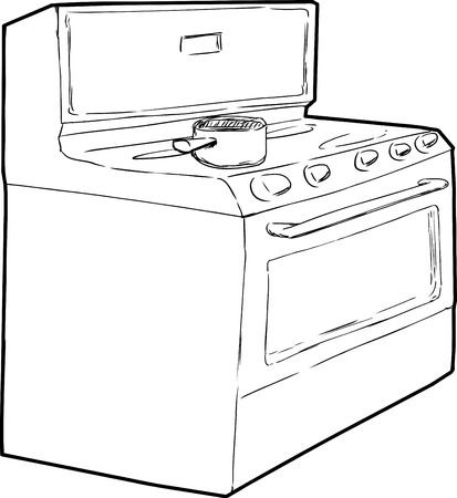cooktop: Outline sketch of single cooking pot on top of induction stove