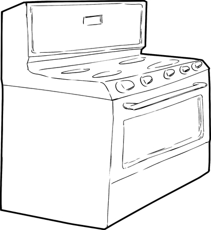 cooktop: Outine sketch of generic isolated white induction stove