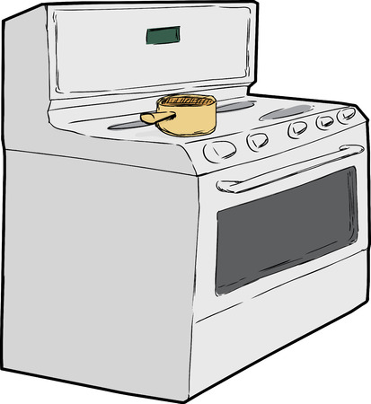 stove top: Hand drawn sketch of single cooking pot on top of induction stove Illustration