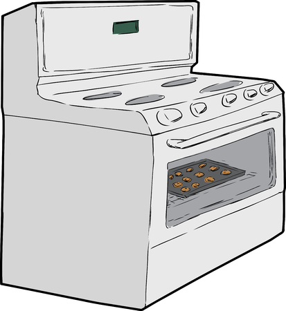 cooktop: Cartoon sketch of induction stove with tray of cookies baking inside