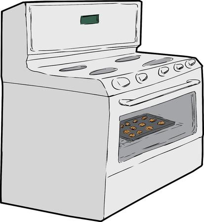 schets van het beeldverhaal van inductie kookplaat met lade van cookies binnen het bakken