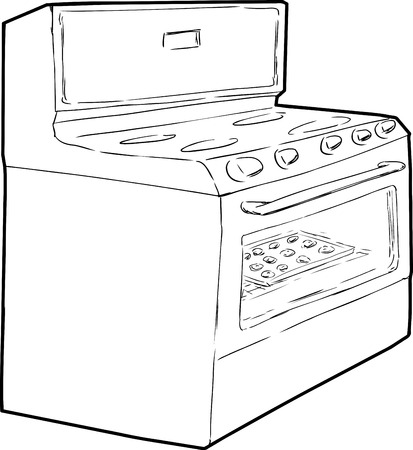Outline sketch of induction stove with tray of cookies baking inside Illustration