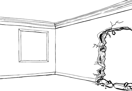 partially: Outline drawing of room with empty picture frame and partially destroyed wall Illustration