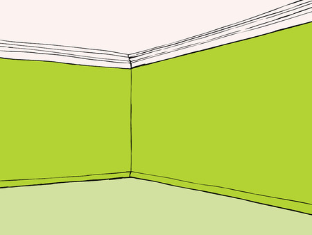 green carpet: Cartoon empty room with blank green walls and carpet Illustration