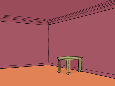 little table: Red cartoon empty room with little table and blank walls Illustration