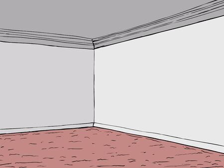 carpeting: Cartoon empty room with gray walls and red carpeting Illustration