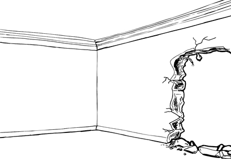 Outlined corner of room with partially destroyed wall Illustration