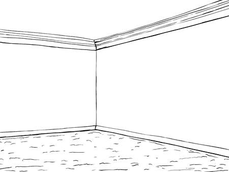 コーナー クラウンモールディングとカーペットと空の部屋の概要図  イラスト・ベクター素材