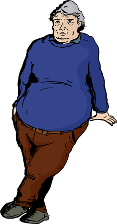 One mature overweight man with big belly leaning over blank area Illustration