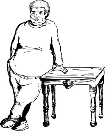 pot belly: Single mature man with large build leaning on wooden table over white background Illustration