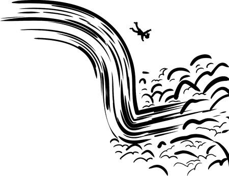 person falling: Single backlit person falling into rushing waterfall