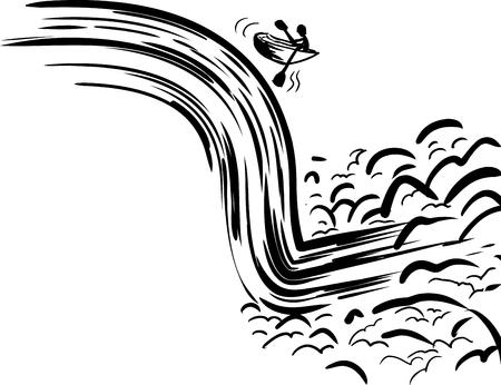 Persona en bote de remos cayendo en cascada peligrosa en el río Ilustración de vector
