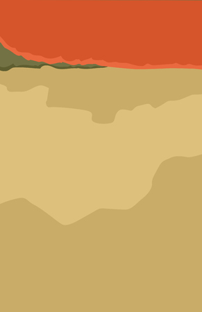 Abstract view of plains near foothills at sunset as illustration with copy space
