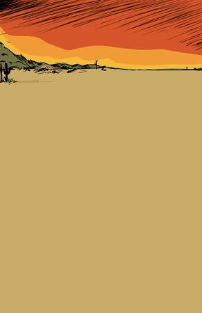 hillside: Empty nature background illustration of desert with cactus and hills Illustration